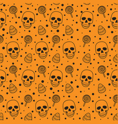 skull and sweets seamless pattern on orange vector image