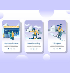 snowboard mobile app onboarding screens vector image