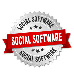 Social software round isolated silver badge vector