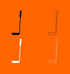 soup ladle black and white set icon vector image