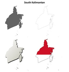 South Kalimantan blank outline map set vector