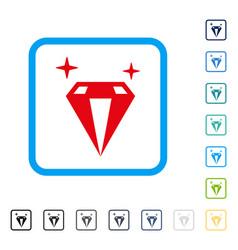 Sparkle diamond crystal framed icon vector