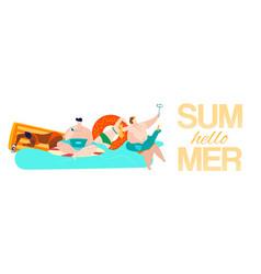 summer rest hello inscription on banner vector image