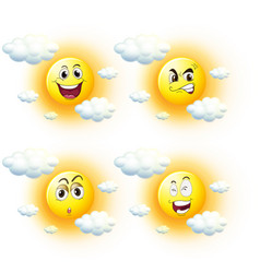 sun with different facial expressions vector image