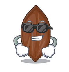 Super cool character pecan nuts in wood bowl vector