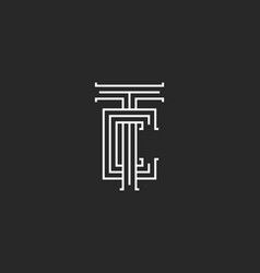 Tc letters logo medieval monogram parallel lines vector