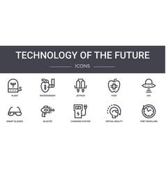 Technology future concept line icons set vector