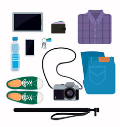 things that people take with them on a trip jeans vector image