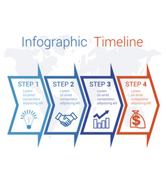 timeline infographic arrows on map numbered for 4 vector image