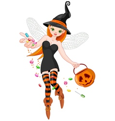 Trick or treating witch vector image