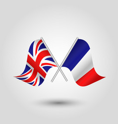 two crossed british and french flags vector image