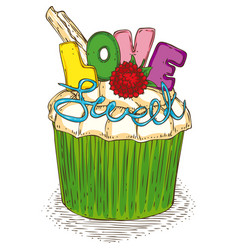 valentine day sweet love cupcake vector image