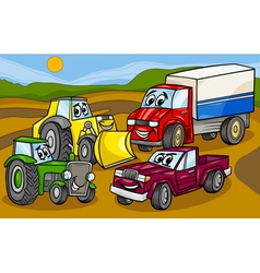 Vehicles machines group cartoon vector