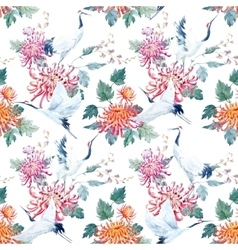 Watercolor crane pattern vector image