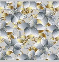 White 3d flowers seamless pattern vintage vector