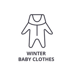 winter baby clothes line icon outline sign vector image