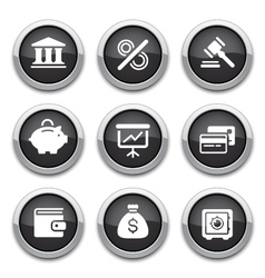 black finance buttons vector image vector image