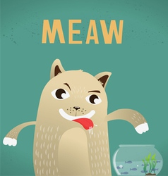 cat hungry and fish vector image vector image