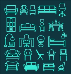 furniture set icons Home interior Living Furniture vector image vector image
