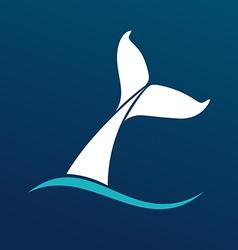 White Whale tail logo sign emlem on dark vector image vector image