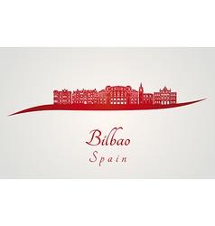 Bilbao skyline in red vector image vector image