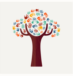 hand print tree for culture diversity and help vector image vector image