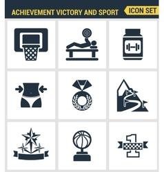 Icons set premium quality of achiement victory vector image