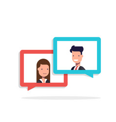 man and woman chatting in speech bubble vector image vector image