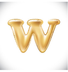 Metallic gold w balloons golden letter new year vector