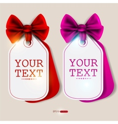 card notes with ribbons red and pink invitations vector image vector image