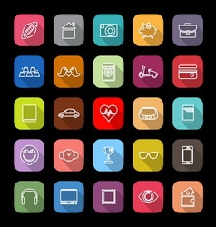 Personal data line icons with long shadow vector image vector image