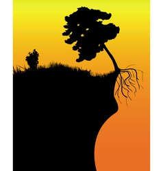 tree on a cliff vector image vector image