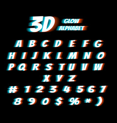 cinema glasses 3d film effect alphabet vector image