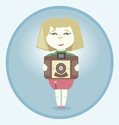 Girl with retro camera vector image vector image