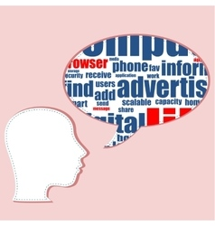 Head shape with marketing concept words isolated vector image vector image
