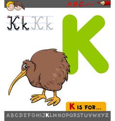 letter k with cartoon kiwi bird vector image