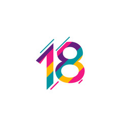 18 years anniversary celebration full color vector