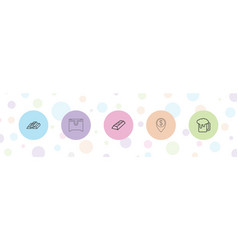 5 gold icons vector