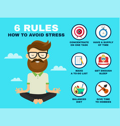 6 rules to avoid stress infographic vector