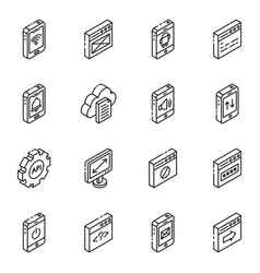 App design linear isometric icons vector