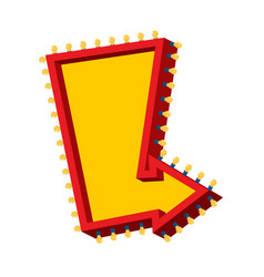Arrow with lamps retro glowing cursor with light vector