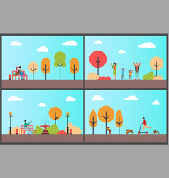 Autumn park man sitting on wooden bench fall set vector
