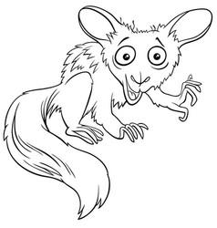 aye-aye cartoon animal character coloring book vector image