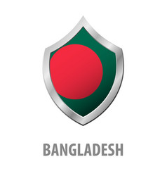 bangladesh flag on metal shiny shield vector image
