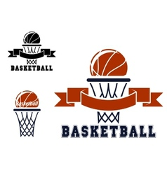 Basketball emblems and symbols vector image