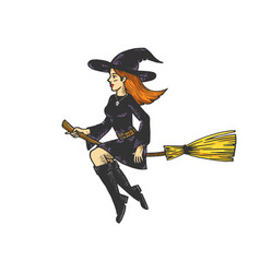 Beauty witch flying on broomstick sketch vector