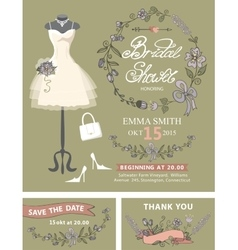 Bridal shower invitation set Bridal dressfloral vector