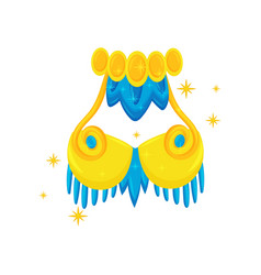 Bright yellow-blue carnival bra of samba dancer vector