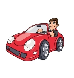 Businessman driving car 2 vector image