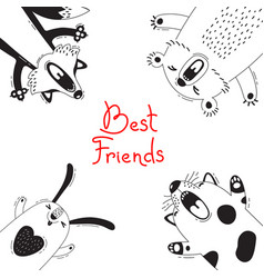 Card with best friends bear fox dog rabbit vector